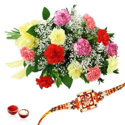 Carnation Bouquet with Rakhi