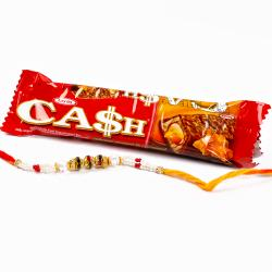CASH Chocolate with Pearl and Small Beads Rakhi