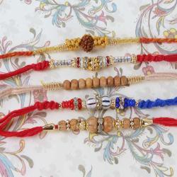 Charming Set of Five Rakhi