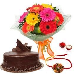 Chocolate Cake with Rakhi and Gerberas Bouquet