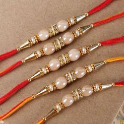 Collection of Five Ellipse Shape Pearl Rakhi