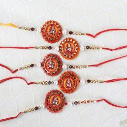 Collection of Five Ganesha Floral Design Rakhi