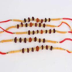 Collection of Five Rudraksha Beads Rakhi