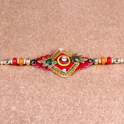 Colored Beads Design Rakhi