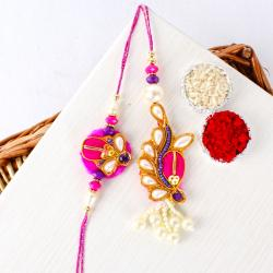 Colored Thread and Zari Work Bhaiya Bhabhi Rakhi