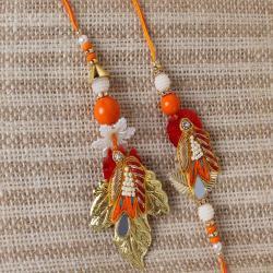 Colorful Leaf Design Bhaiya Bhabhi Rakhi