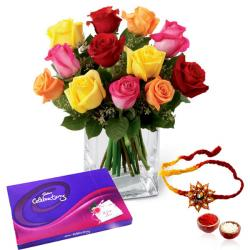 Colorful Roses and Celebration Chocolate Pack with Rakhi