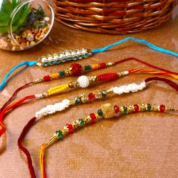 Colourful  Beads Rakhi Combo