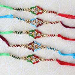 Combo of Five Diamond Studded Dial with Zardosi Strings Rakhi