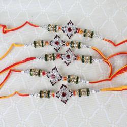 Combo of Five Marvellous Multi Stone Rakhi