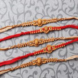 Combo of Five Tiny Wooden Beads Rakhi