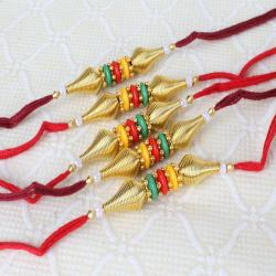 Combo of Five Trio Colors with Golden Beads Rakhi