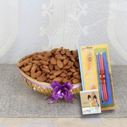 Crunchy Almonds Basket with 2 Rakhi
