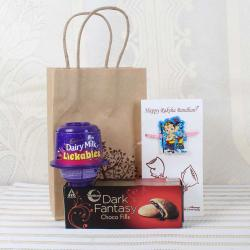 Dairy Milk Lickables with Dark Fantasy Choco Fill Pack and Ganesha Krishna Rakhi