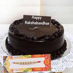 Dark Chocolate Cake with Designer Rakhi