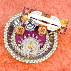 Decorated Thali with Rakhi
