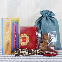 Delicious Sweets and Fig Dry Fruit with Stylish Rakhi-Worldwide