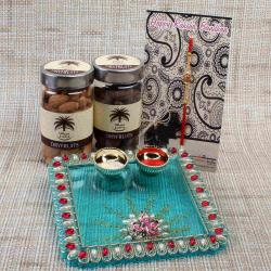 Designer Acrylic Thali with Dry Fruits and Rakhi