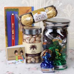 Designer Beads Rakhi with Dry fruits and Chocolates