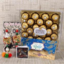 Designer Bhaiya Bhabhi Rakhi with Card and Ferrero Rocher Chocolate