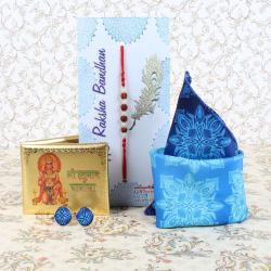 Designer Cufflinks and Handkerchief with Golden Plated Hanuman Chalisa Book Rakhi Combo - Canada