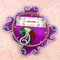 Designer Diamond Thali with Rakhi