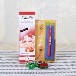 Designer Pearl Rakhi with Lindt Erdbeer-Rhabarber Chocolate - UAE