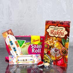 Designer Pearls Two Rakhis with Soan Roll and Rakhi Greeting Card