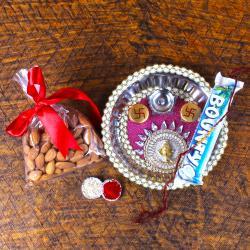Designer Rakhi Thali with Bounty Chocolate and Almonds