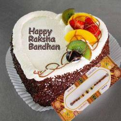 Designer Rakhi with Fruit Cake
