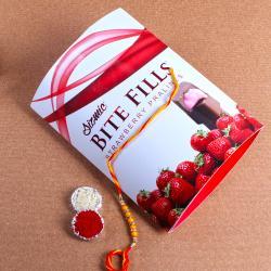 Designer Rakhi with Sizmic Bite Fills Strawberry Pralines Chocolates Box