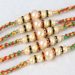 Designer Set of Five Pearl Beads Rakhi