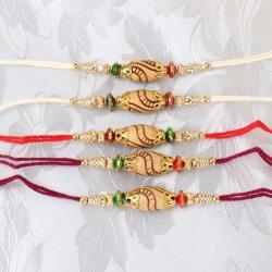 Designer Wooden Beads Dial Five Rakhis