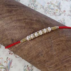 Diamond Ring with Pearl Beads Rakhi