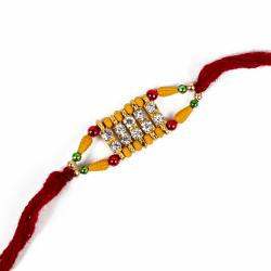 Diamond Work with Wooden Color Beads Rakhi