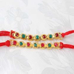 Double Multi Stone Rakhi Thread