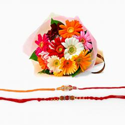 Double Rakhi with Gerberas Bouquet