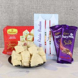 Double Rakhi with Sweets and Chocolate