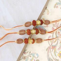 Double Rudraksha Three Rakhi for Brothers