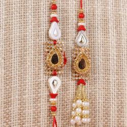 Drop Design Kundan Bhaiya Bhabhi Rakhi