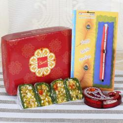 Dry Fruit Cakes Sweets with Rudraksha Rakhi - UAE