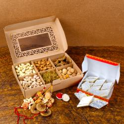 Dry Fruits and Kaju Katli with Rakhi Combo
