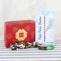 Dry Fruits Sweets with Fancy Beads Rakhi-Worldwide