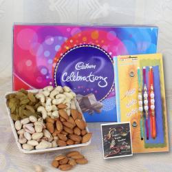 Dry fruits with Celebration Chocolate Pack and Three Rakhi