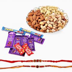Dryfruits and Rakhi with Assorted Chocolates