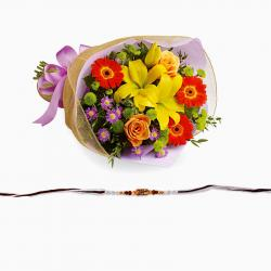 Elegant Rakhi with Exotic Bouquet