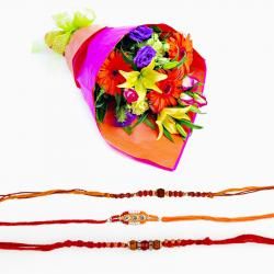 Embellished Set of Three Rakhis with Exotic Flowers