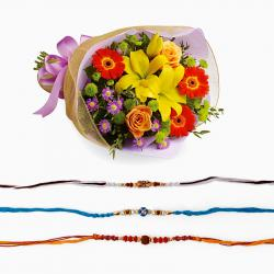 Exotic Bouquet with Three Rakhi