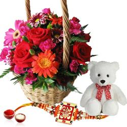 Exotic Flower Basket with Rakhi and Teddy Bear
