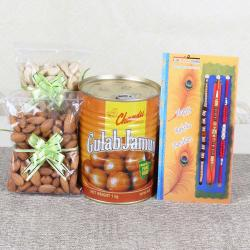 Express Delivery of 3 Rakhis with Gulab Jamun and Cashew Almond